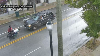 Screenshot of surveillance video from July 2020 of an attack on a Hispanic male