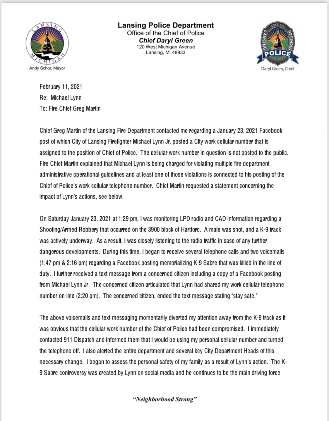 Chief Daryl Green's Letter to LFD