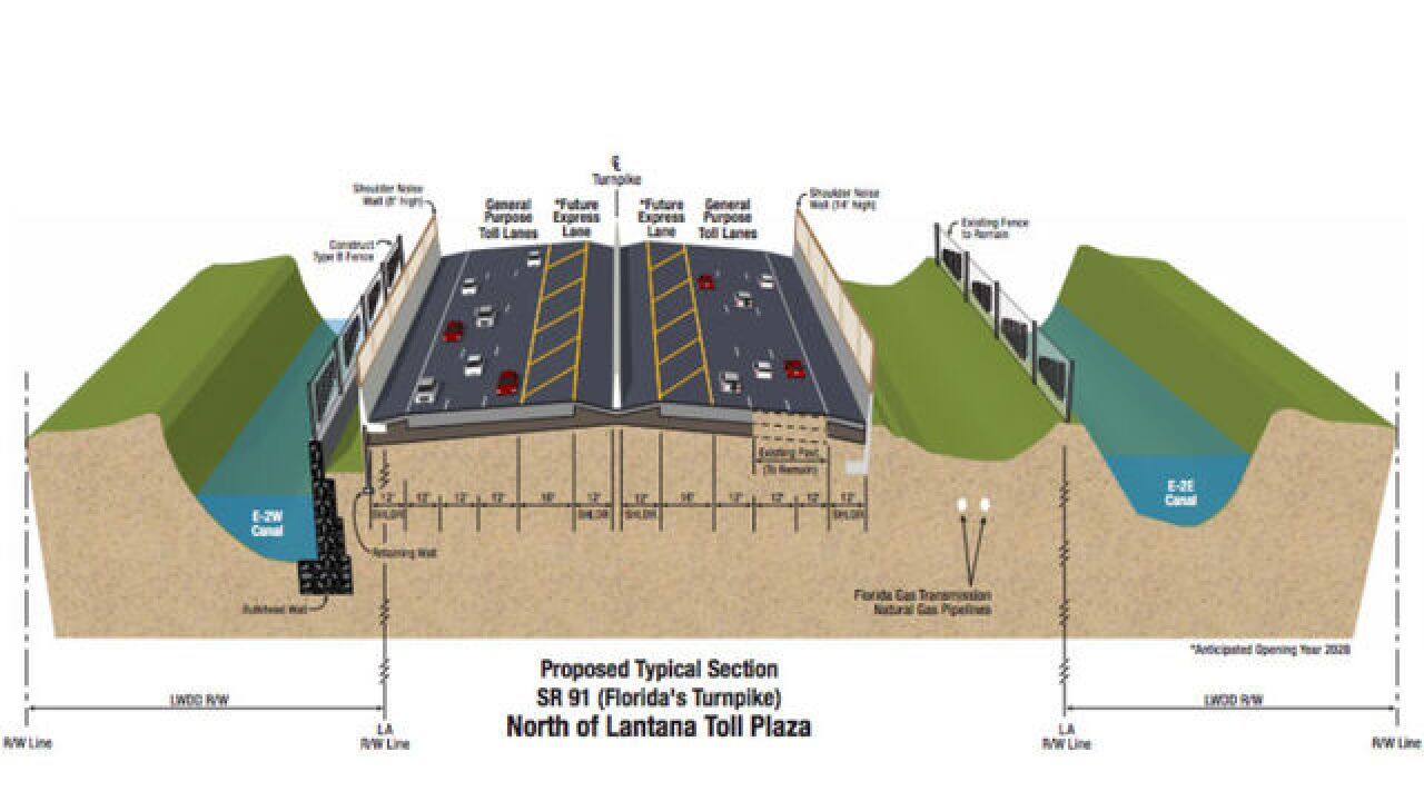 Plans to widen Florida's Turnpike from two to three lanes near Boynton Beach