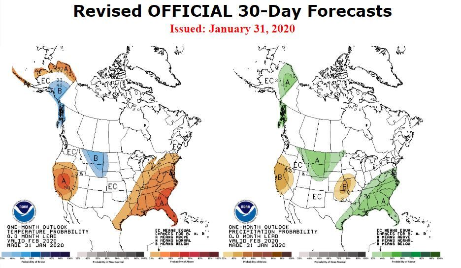 One Month Outlook From NOAA: Climate Prediction Center