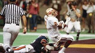 Florida State Seminoles cornerback Deion Sanders winning interception against Auburn Tigers in 1989 Sugar Bowl