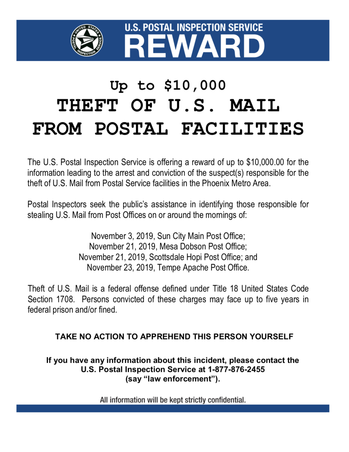 Post office theft flyer