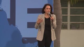 Kamala Harris is speaking at a campaign event at Palm Beach State College in Lake Worth Beach.