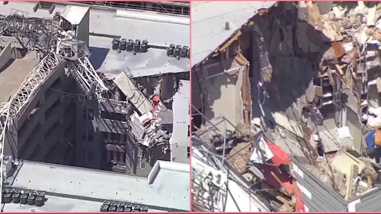 At least 1 dead, 6 injured after crane falls on Dallas apartmentbuilding