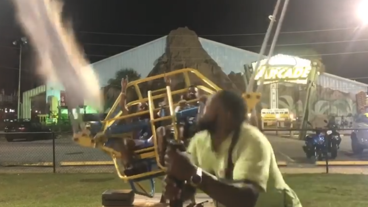 'We just dodged death!': Video shows cables on slingshot ride snapping just before launch