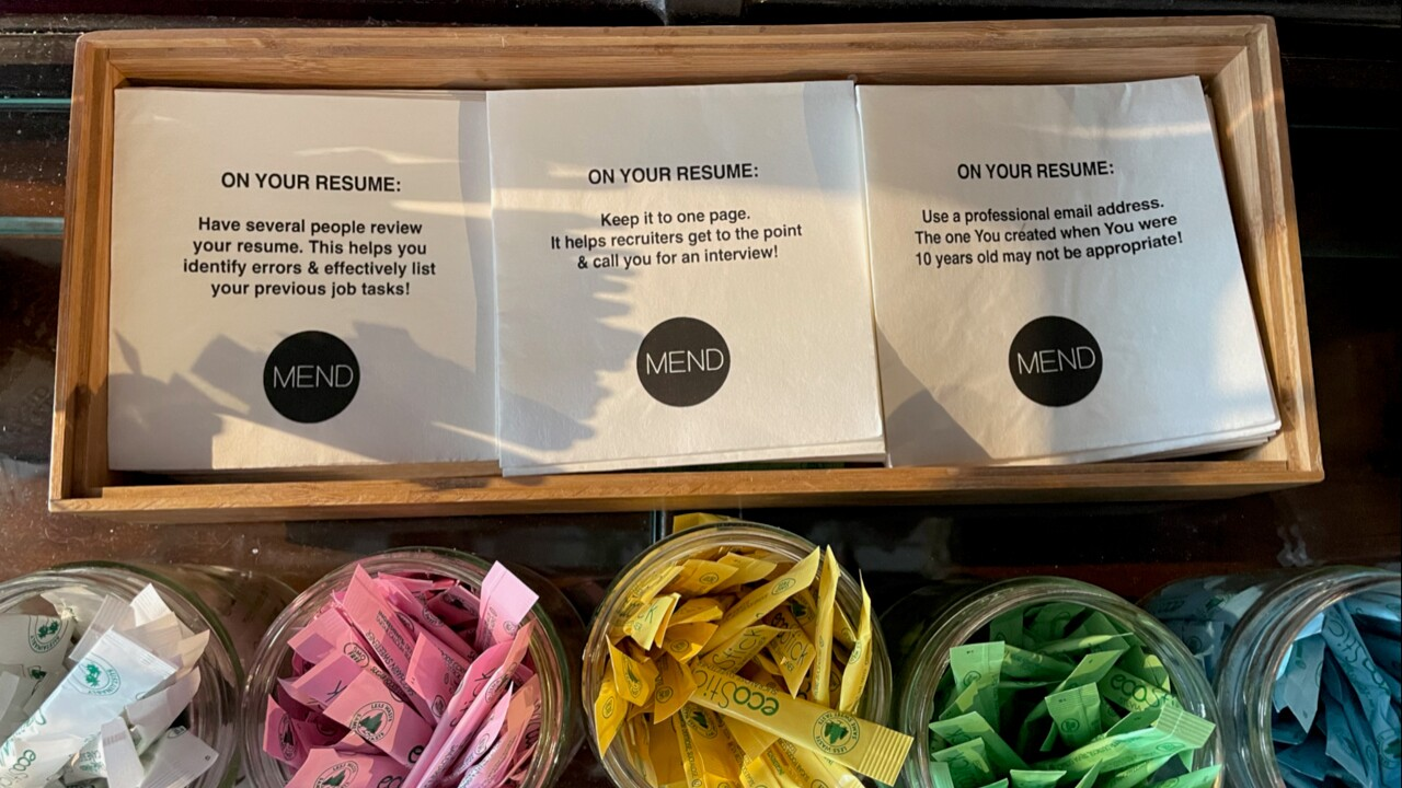 Resume tips on napkins at SubCulture Coffee.