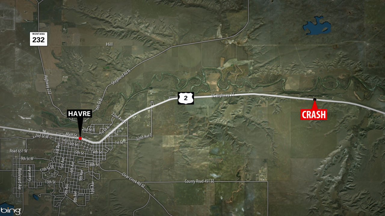 The crash happened Monday morning a few miles east of Havre on US Highway 2. (MTN News image)