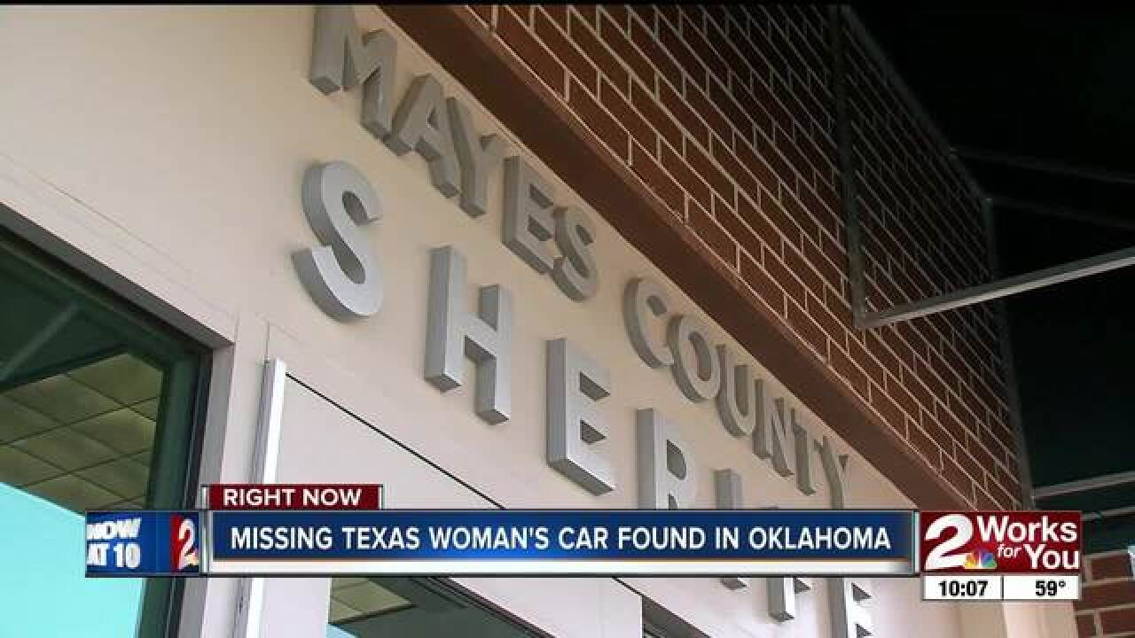 Missing Texas woman's vehicle found in Mayes Co.