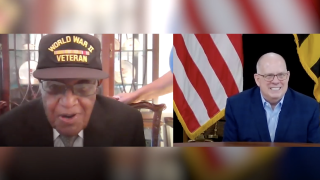 Gov. Larry Hogan and Ezra Hill meet virtually before Veterans Day