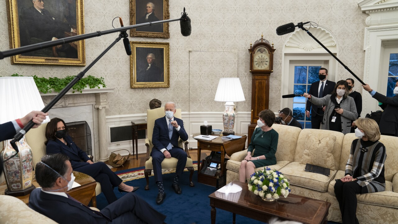 President Joe Biden and Vice President Kamala Harris meet with Republican lawmakers to discuss a coronavirus relief package, in the Oval Office of the White House, Monday, Feb. 1, 2021, in Washington. From left, Sen. Mitt Romney, R-Utah, Vice President Kamala Harris, Biden, Sen. Susan Collins, R-Maine, and Sen. Lisa Murkowski, R-Alaska. (AP Photo/Evan Vucci)