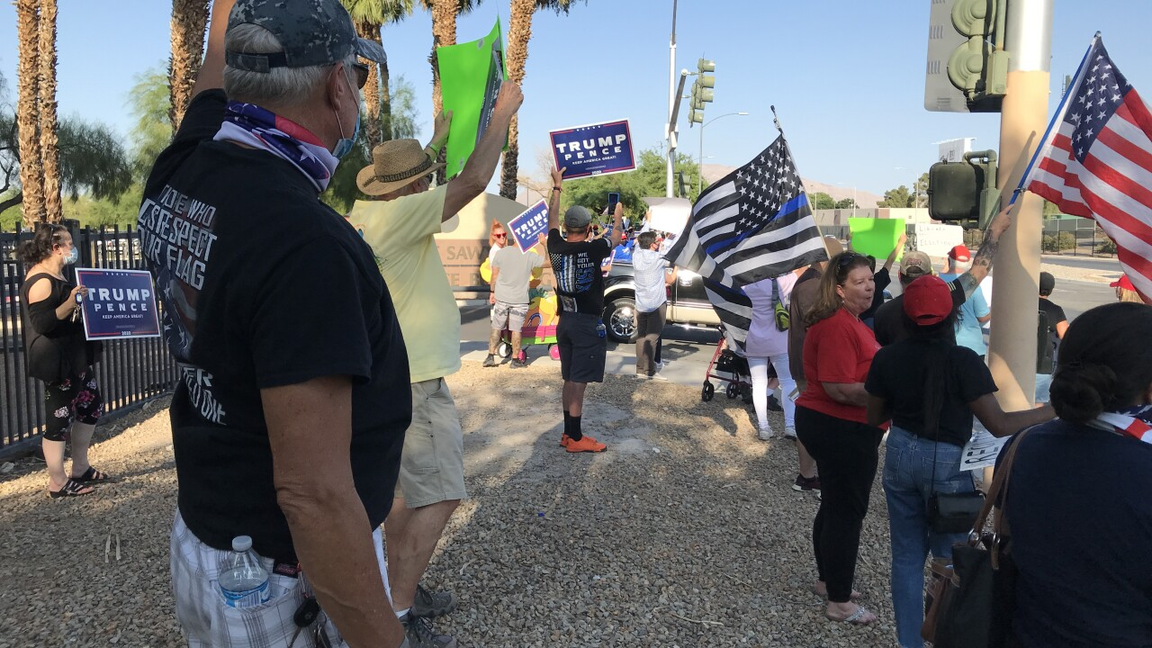 These are photos of protesters that showed up to the Grant Sawyer Building on Aug. 4, 2020
