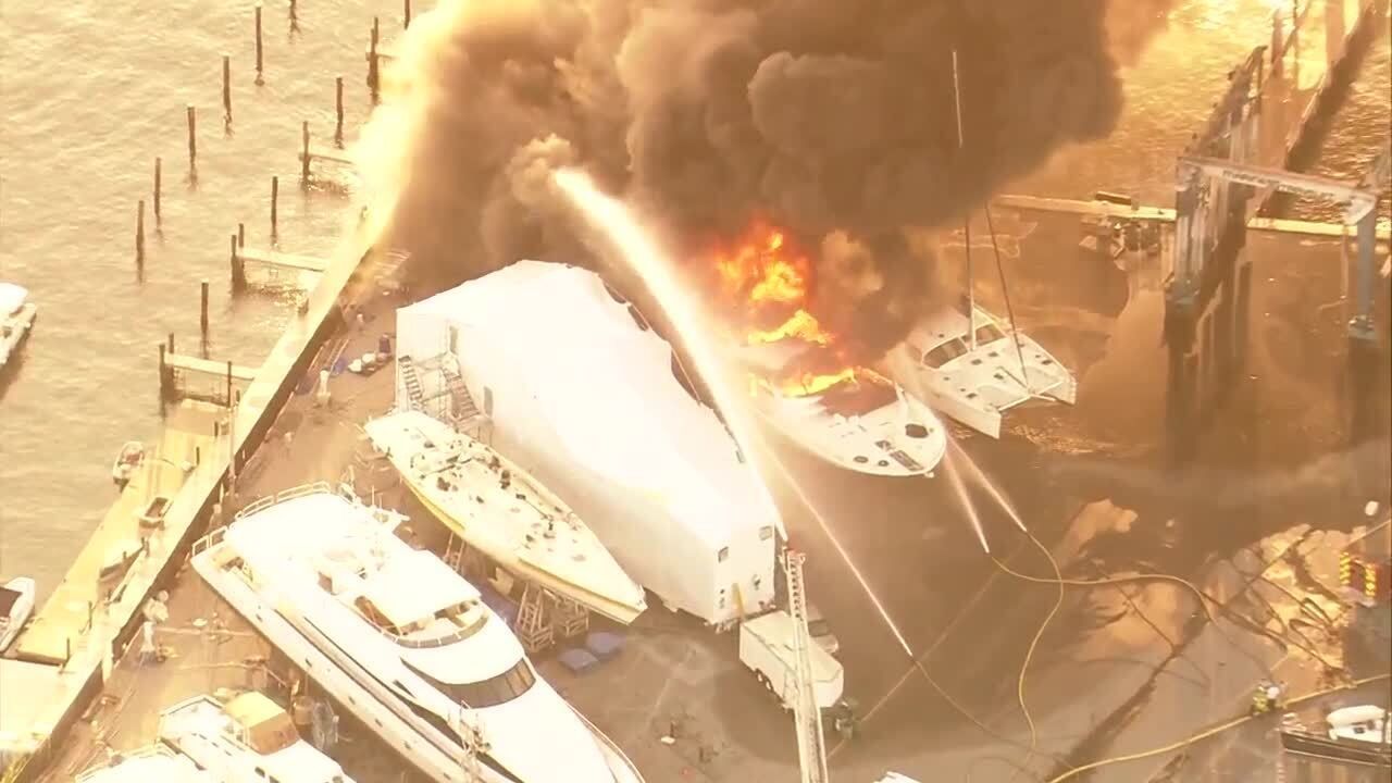 A fire engulfed a yacht at the Cracker Boy Boat Works next to the Riviera Beach City Marina on May 7, 2019.