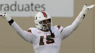 Miami Hurricanes defensive end Jaelan Phillips celebrates vs. Virginia Tech Hokies in 2020