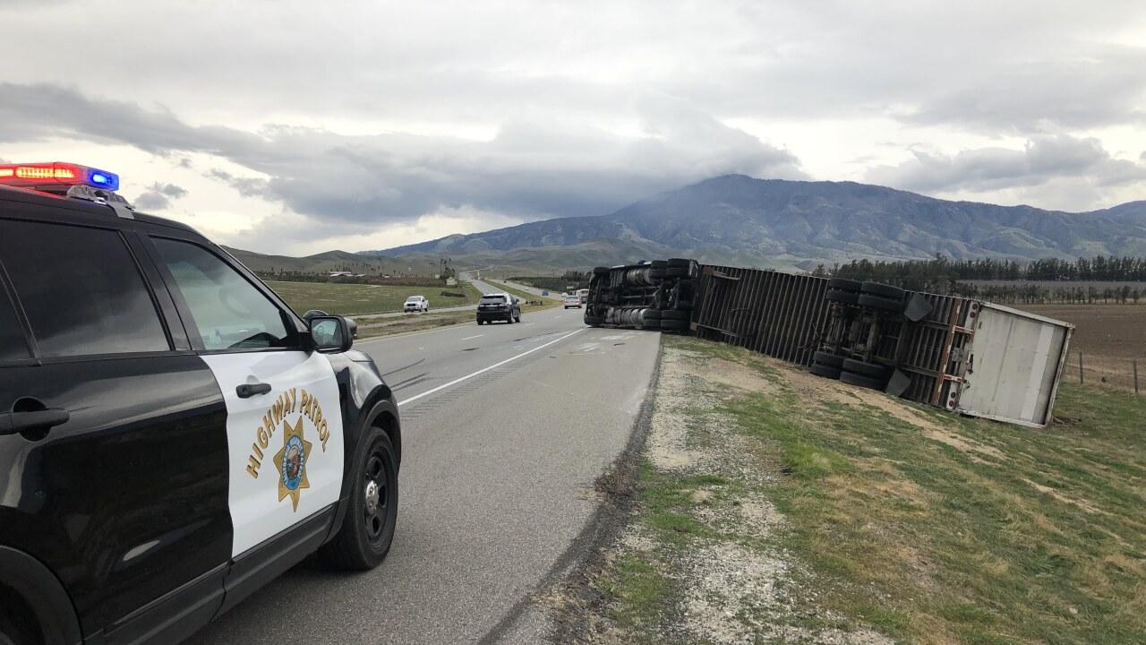 Highway 58 Big Rig Roll Over