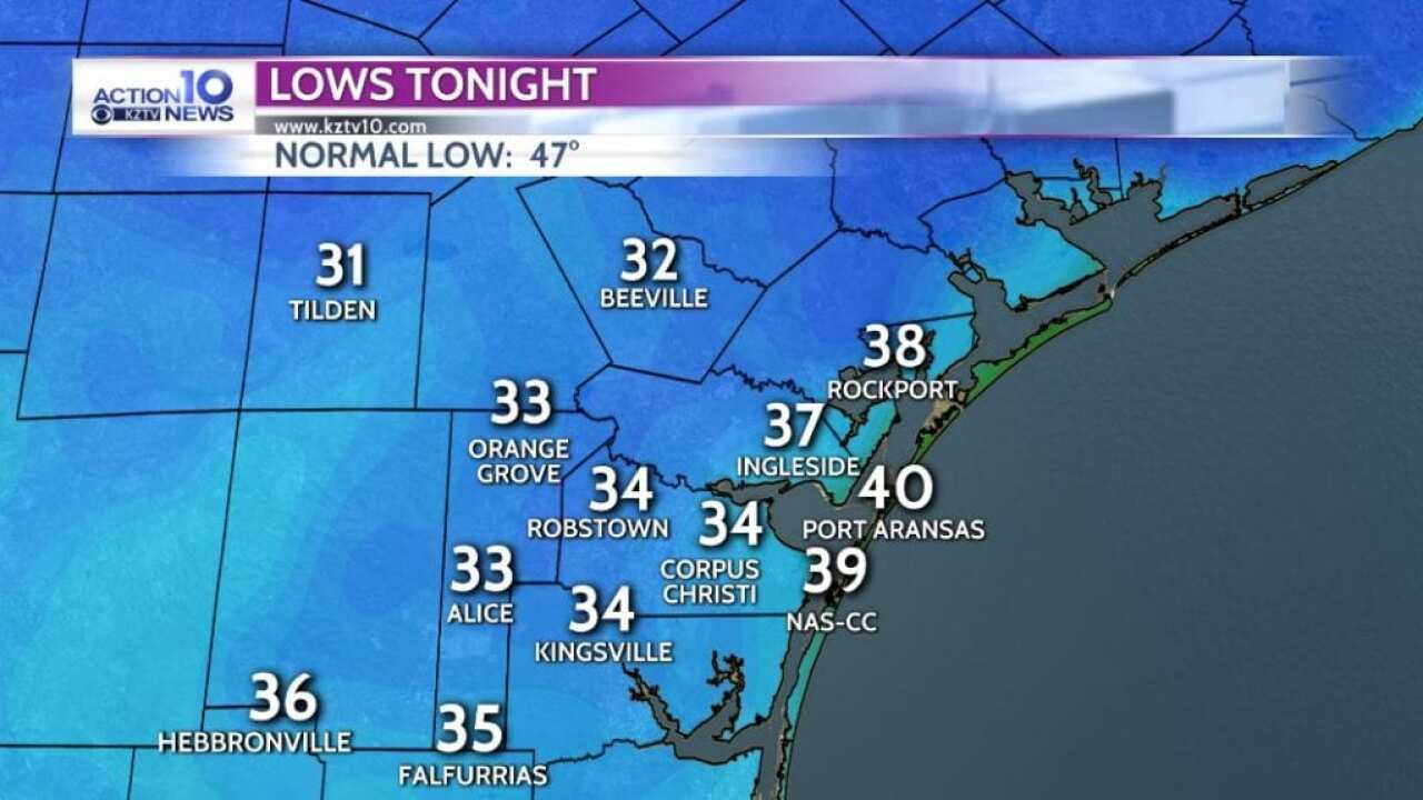 Light freeze possible inland tonight
