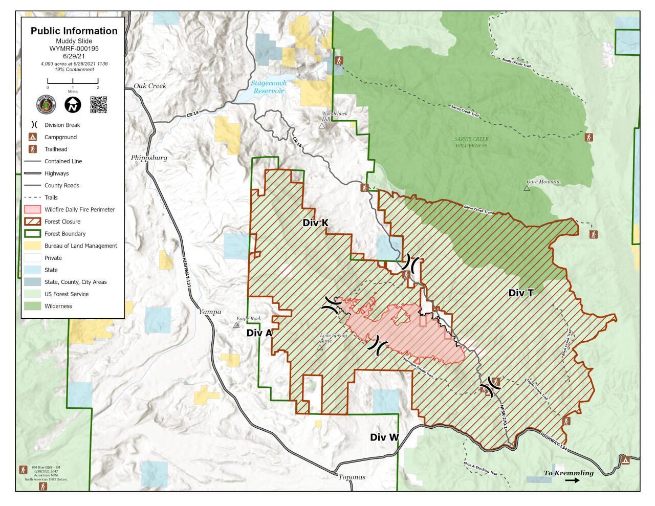 Muddy Slide Fire Map June 29, 2021