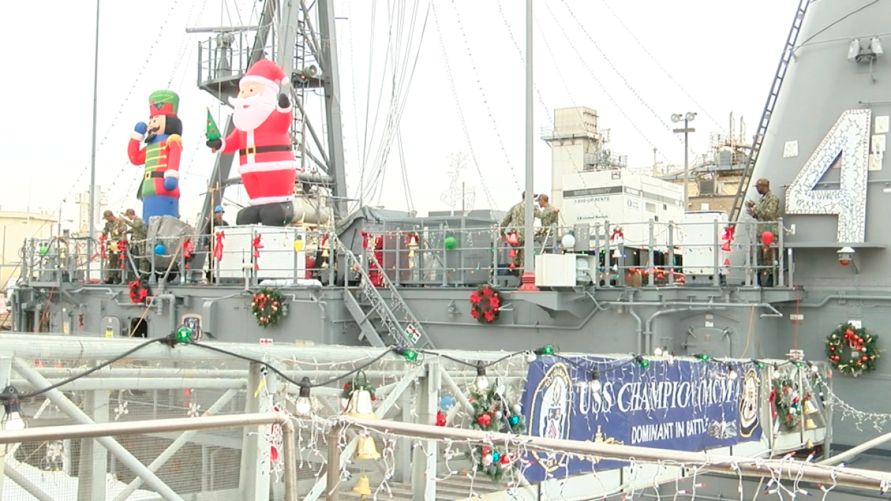 san diego navy ships holiday decorations uss champion