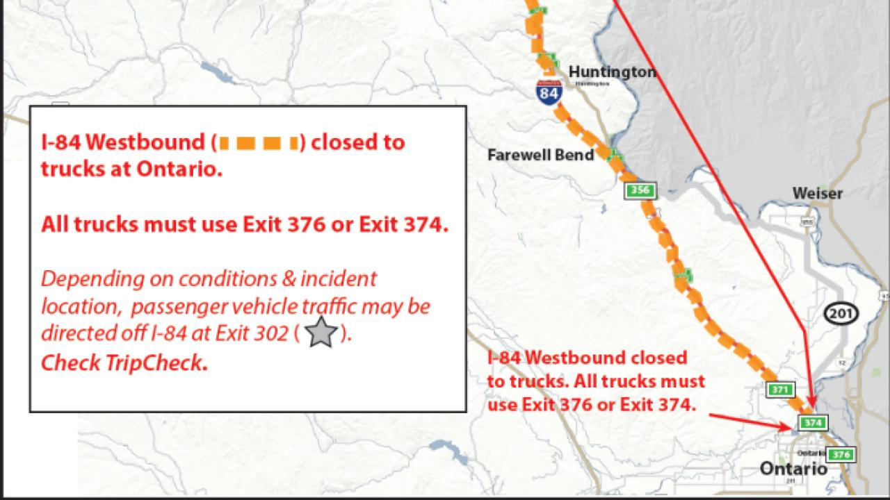 Westbound I-84 reopened near Ontario, Oregon