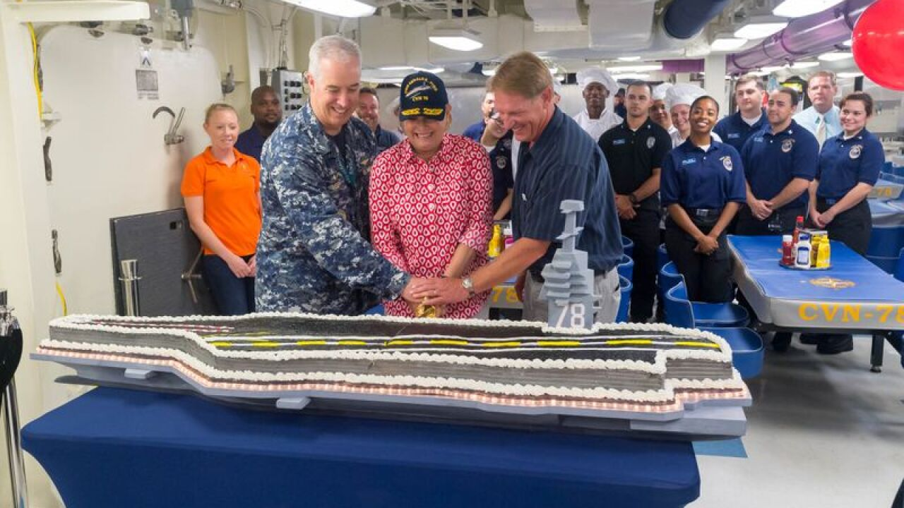 Navy crew moves aboard aircraft carrier Gerald R. Ford