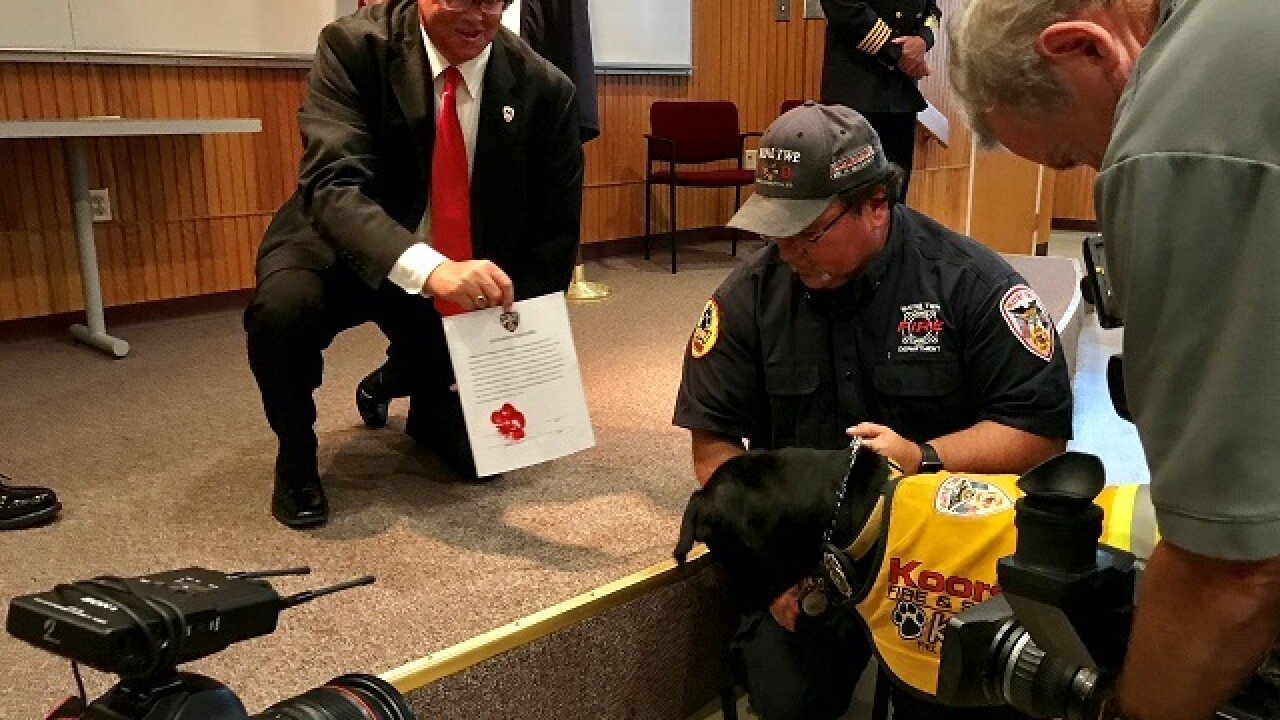 Wayne Township Fire Department swears in new fire rescue dog