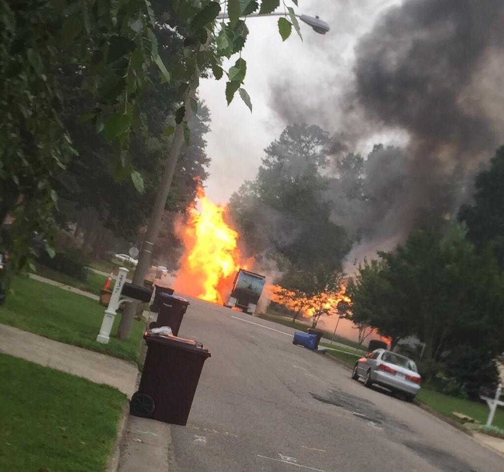 Photos: Recycling truck catches fire in Chesapeakeneighborhood