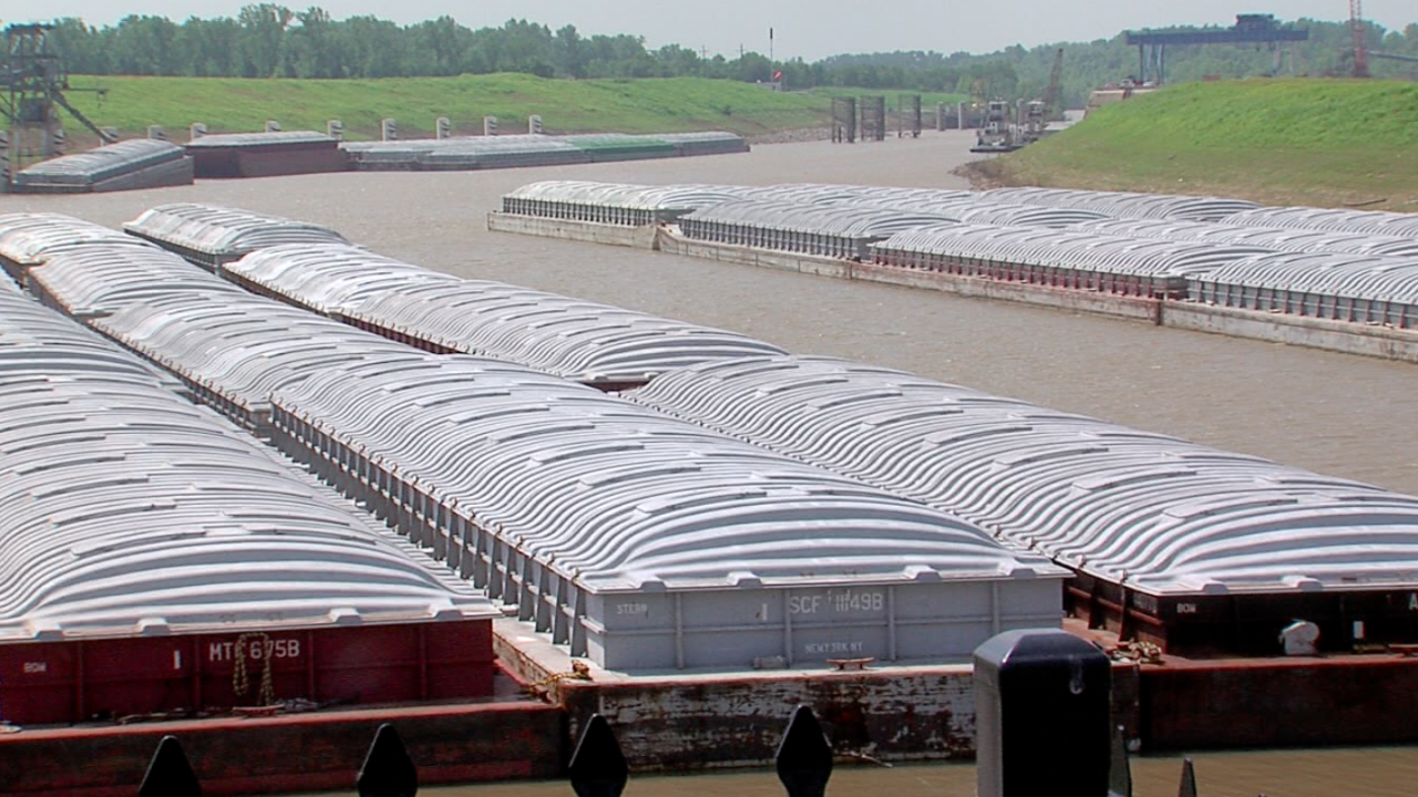 Barges sitting in Tulsa Port of Catoosa
