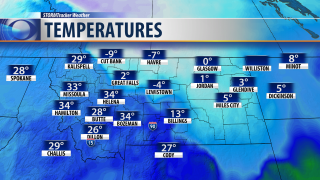 As of 3:30 PM Friday, Western Montana was over 30 degrees warmer than the rest of the state
