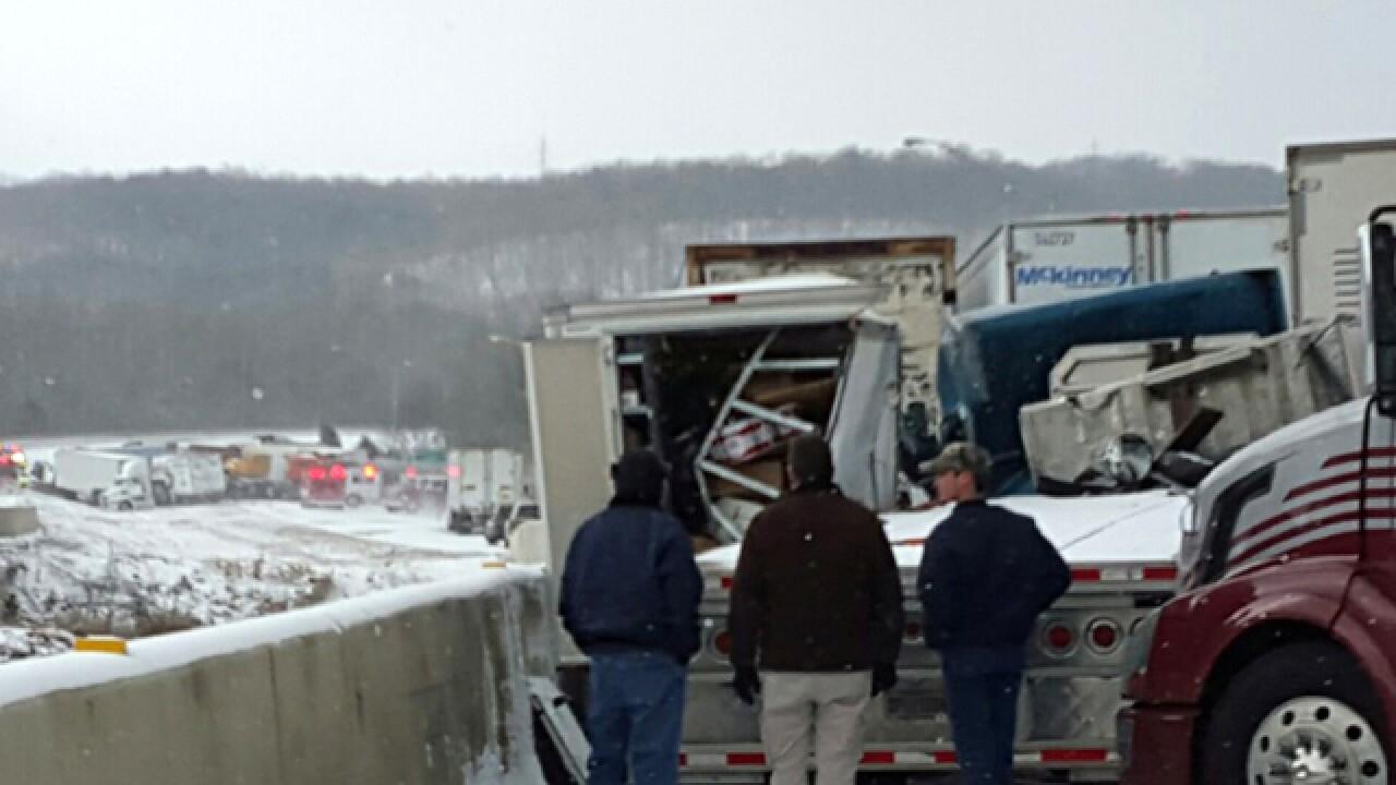 PHOTOS: Huge pileup closes I-74 in Indiana