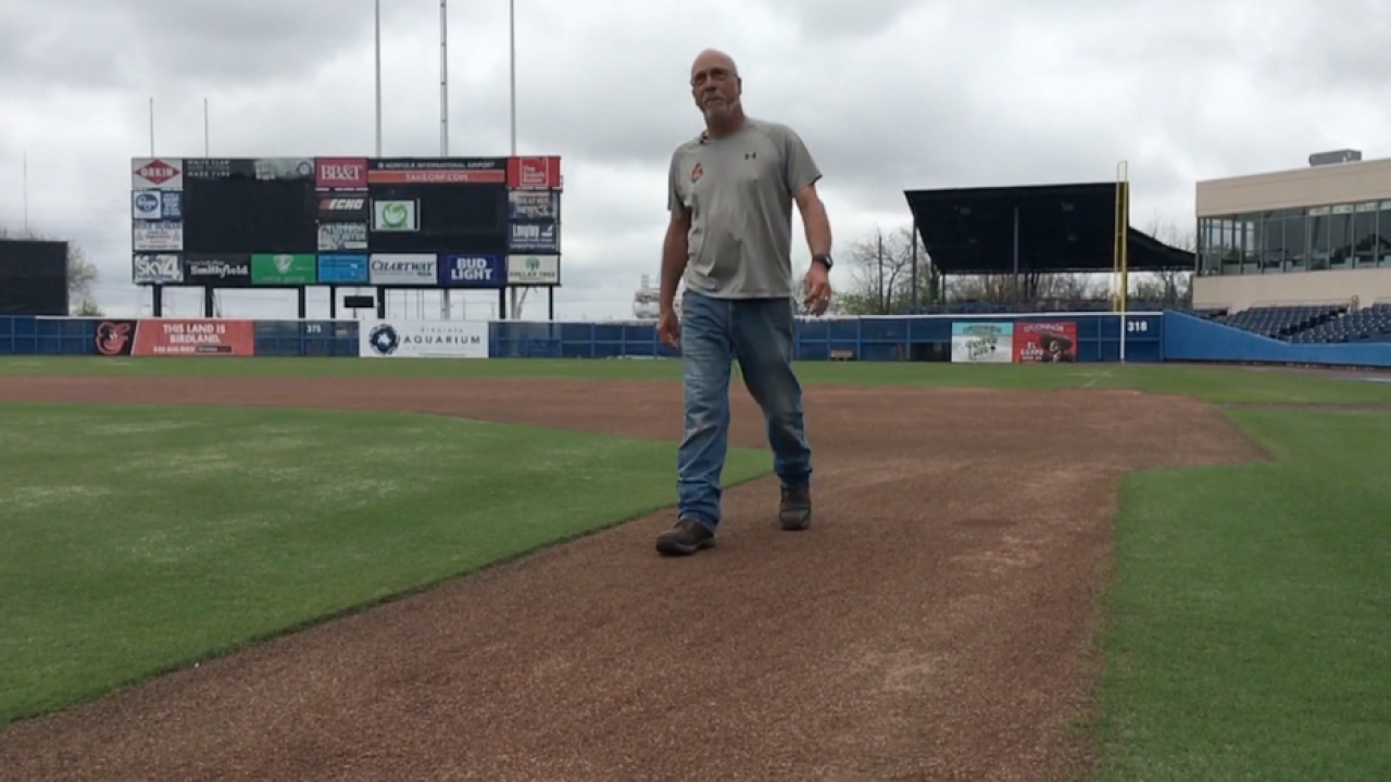 Longtime Norfolk Tides groundskeeper Kenny Magner honored by International League
