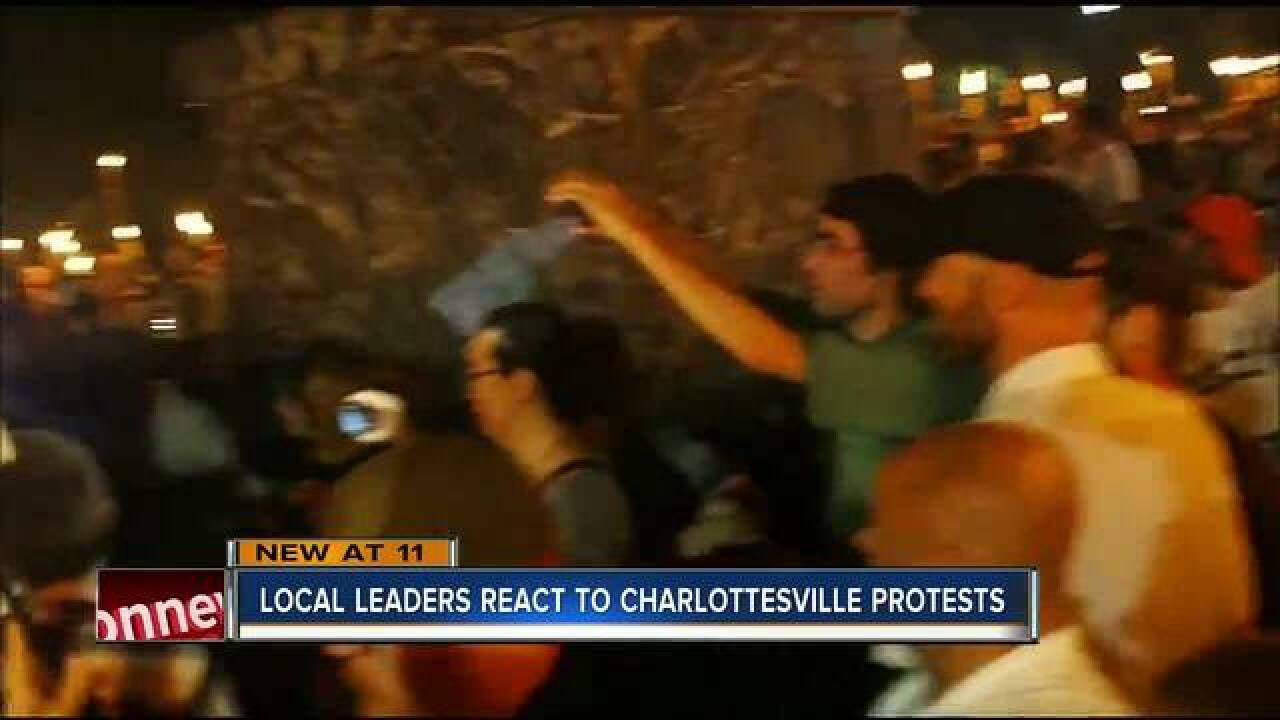Car strikes group at white nationalist at rally