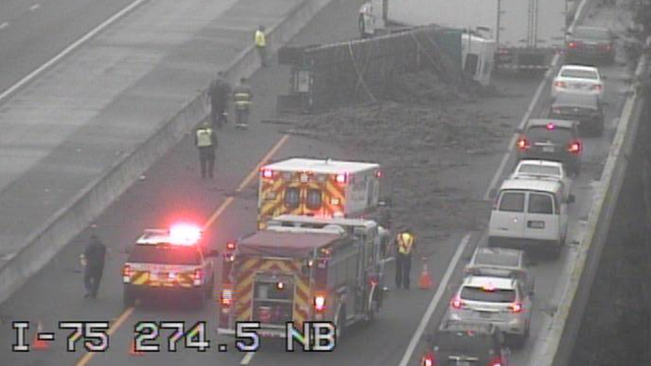 Flipped semi crash closes I-75 exit ramp to SR 56 in Pasco County on Monday morning