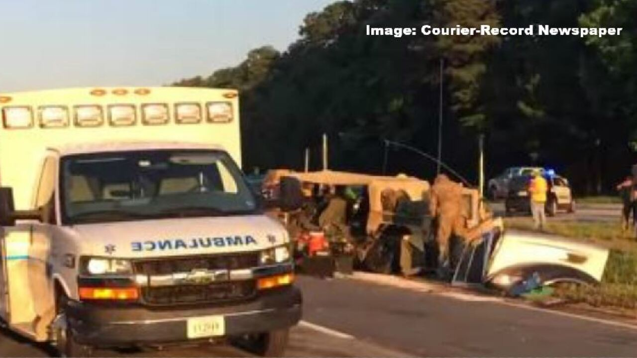 This crash involving a military vehicle impacted the morning commute