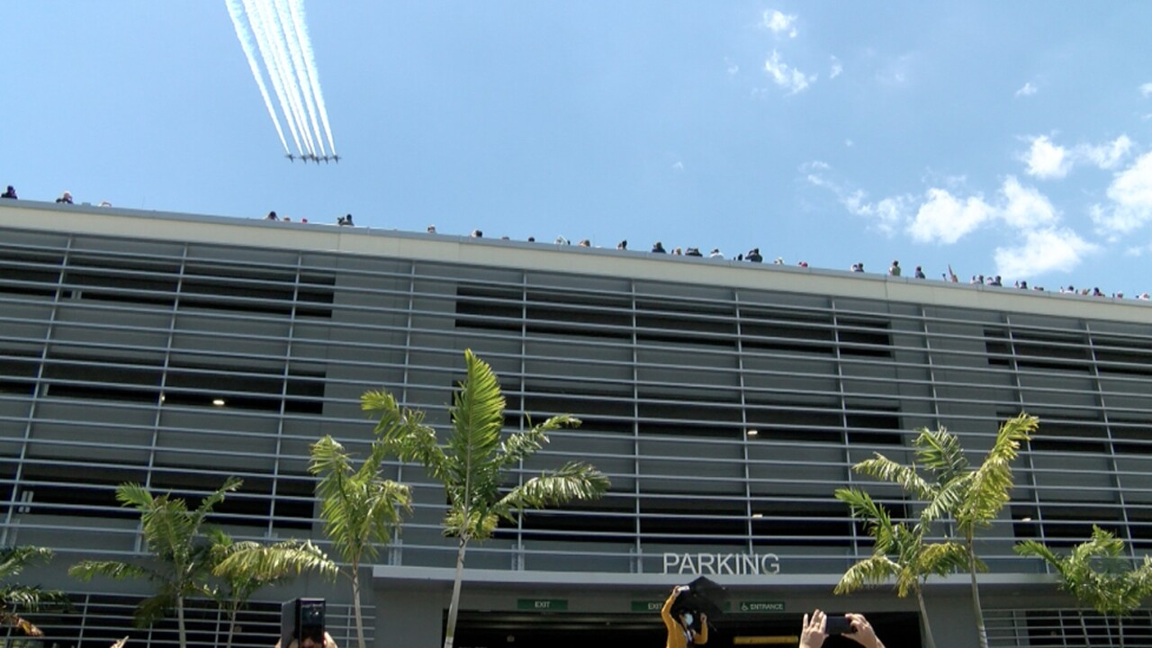 The Blue Angels fly over Boca Raton Medical Center on May 8, 2020.
