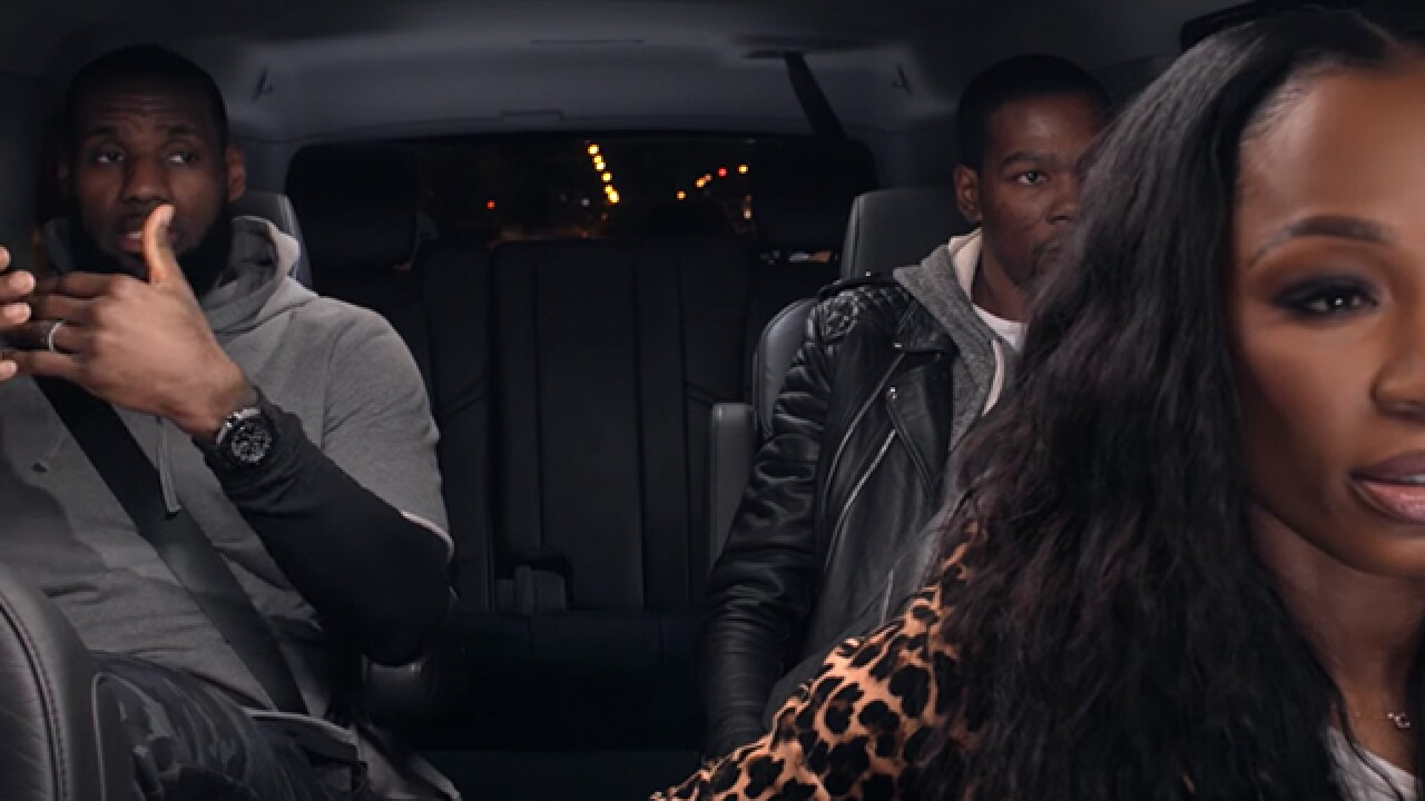 6ae3c62a8e88 LeBron James and Kevin Durant get candid during ride-along through Akron