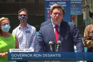 Gov. DeSantis addresses rise in coronavirus cases during visit to Juno Beach