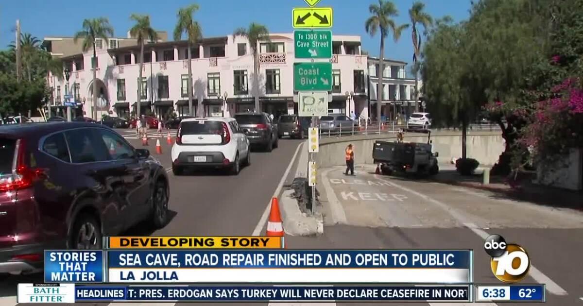 Crews finish La Jolla sea cave and road repair project