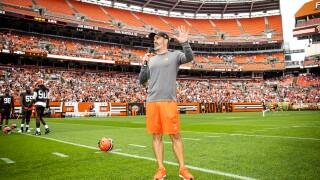 Kevin Stefanski speaks to fans FirstEnergy Stadium Browns