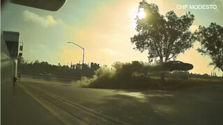 Video: Car drives off highway and goes airborne