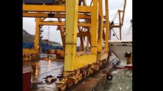 Caught on camera: Ferry knocks down crane, causes fire