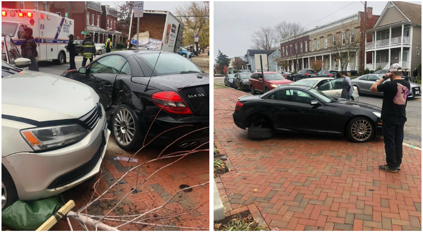 Photos: Doorbell video shows driver swerve into parked car in Richmond