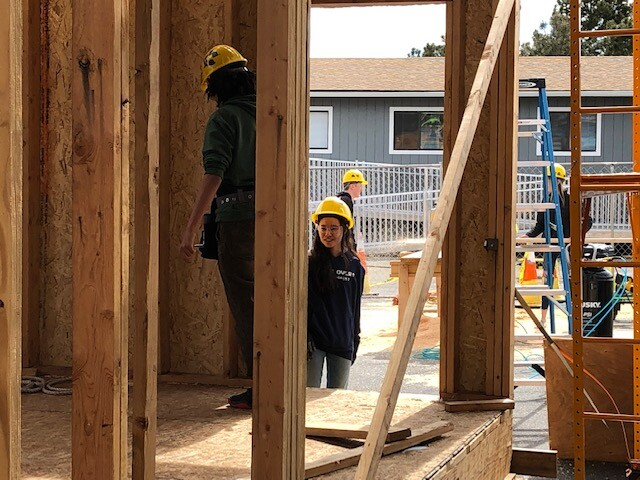 Green Mountain High students building a house