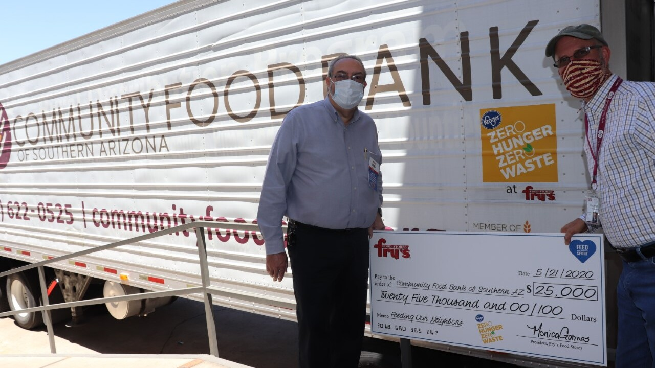 A grant from Fry's Food Stores will support a growing number of mobile school pantries helping families even while schools are closed during the COVID-19 pandemic. The $25,000 grant from Fry's will be used for to pay for food purchases, staffing, and transporting food.