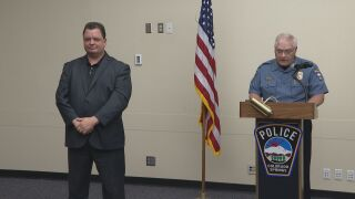 Left to right: an interpreter and Chief Vince Niski. The Colorado Springs police chief makes a statement apologizing to the community for his late response to protests in honor of George Floyd.