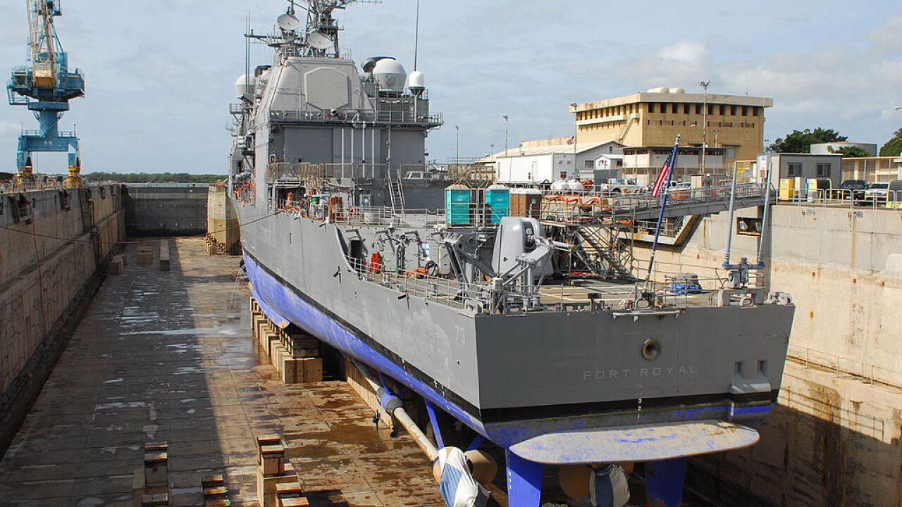 Guided Missle Cruiser Port Royal In For Repairs