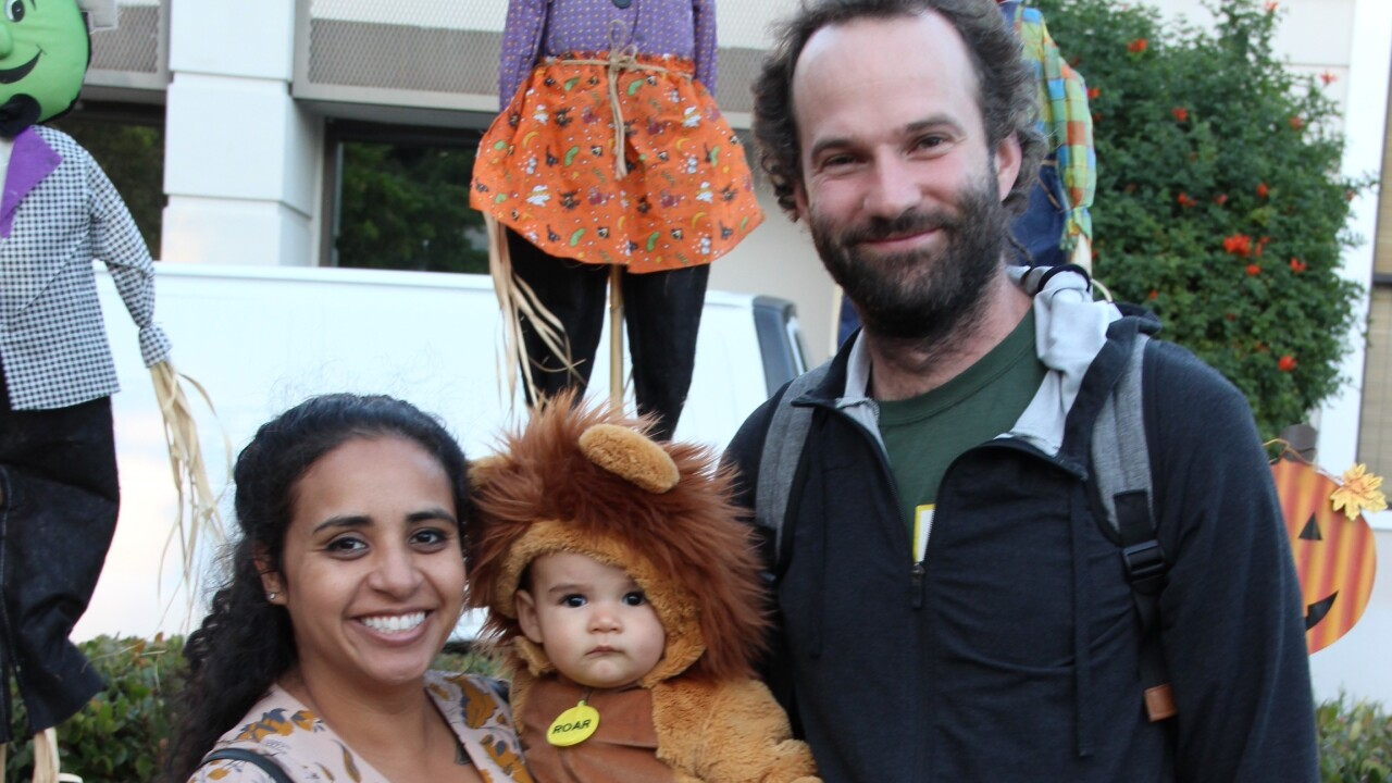 Family celebrating Halloween at Downtown SLO Farmers' Market