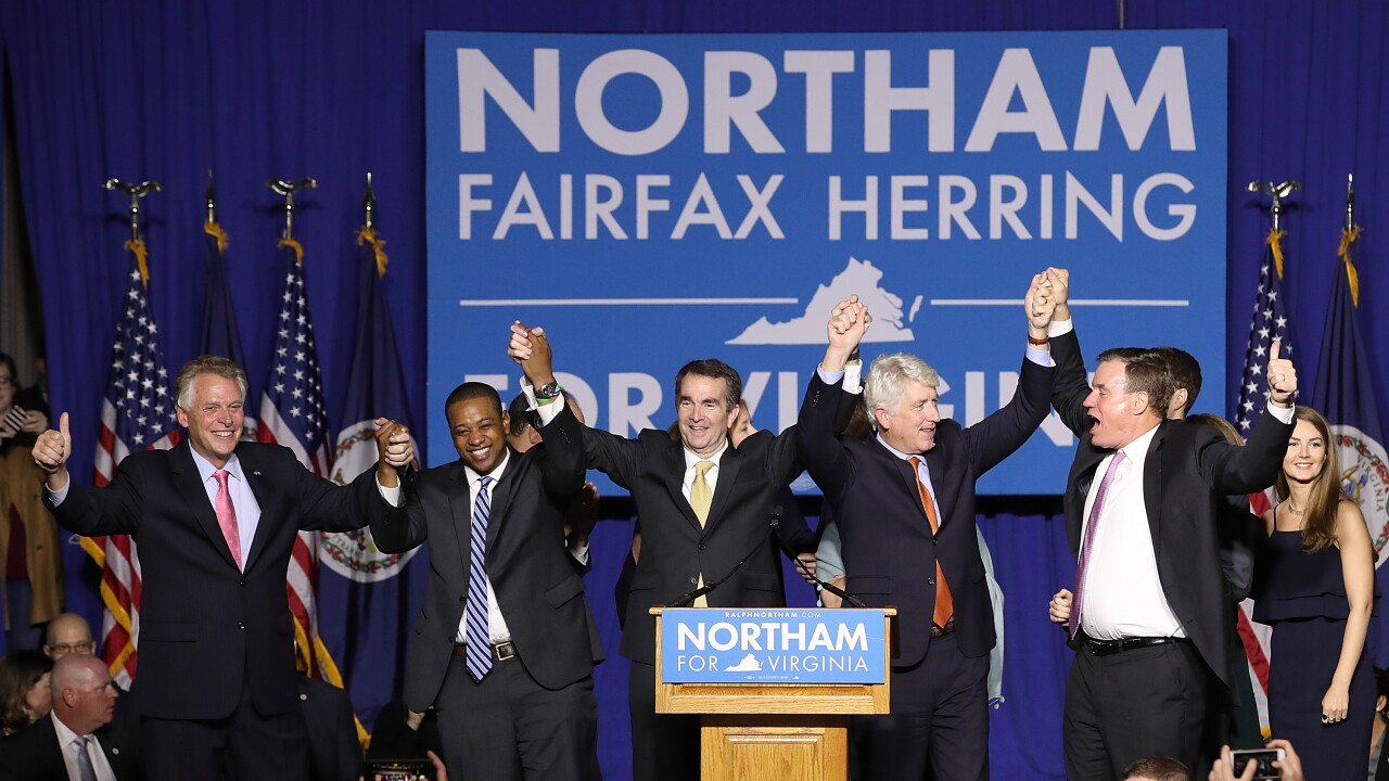 Virginia Gubernatorial Candidate Ralph Northam Holds Election Night Gathering In Fairfax, Virginia