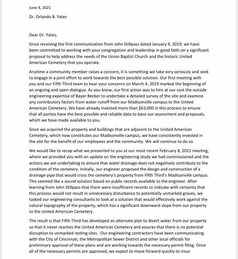 5/3 Bank letter to Union Baptist Church Page 1