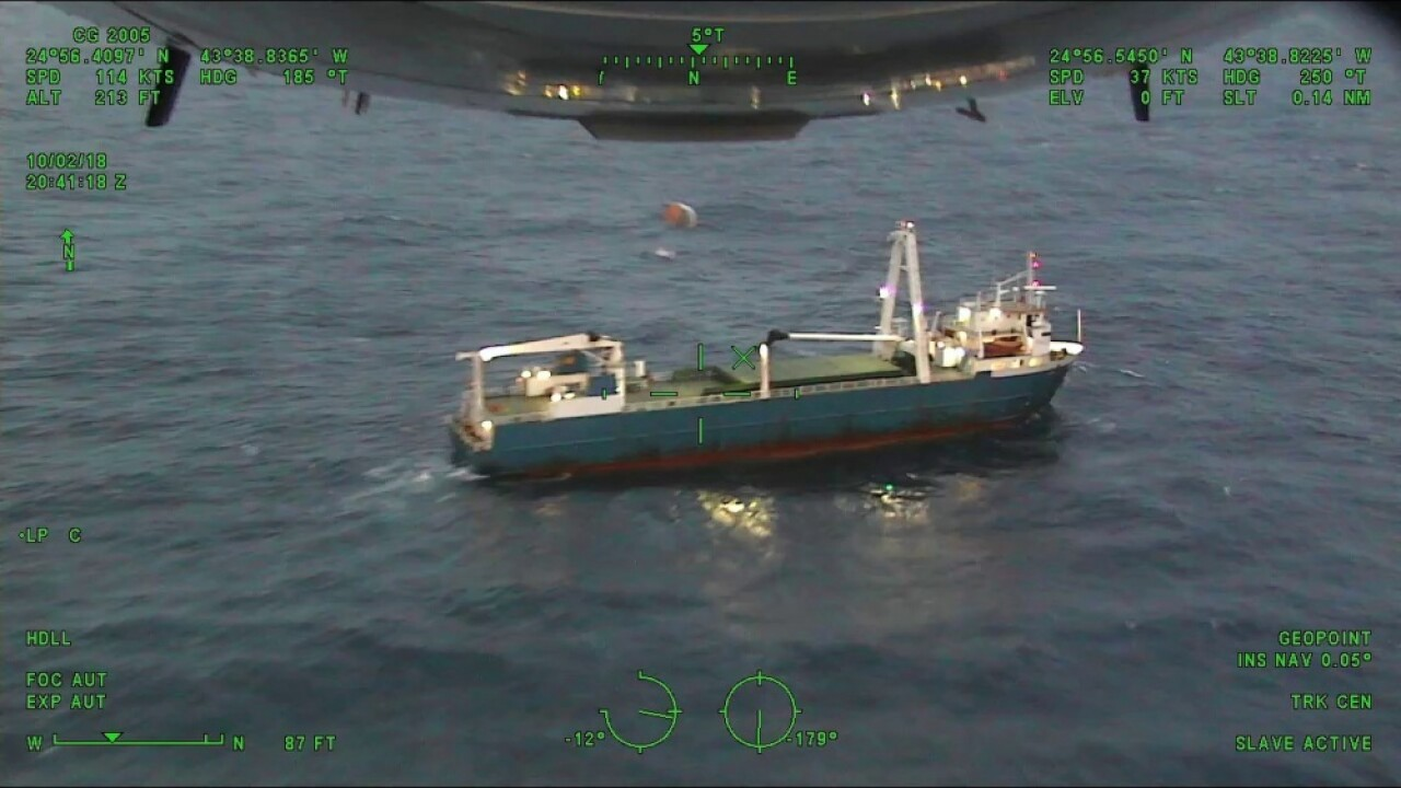 Coast Guard rescues 10 from disabled cargo ship stranded at sea