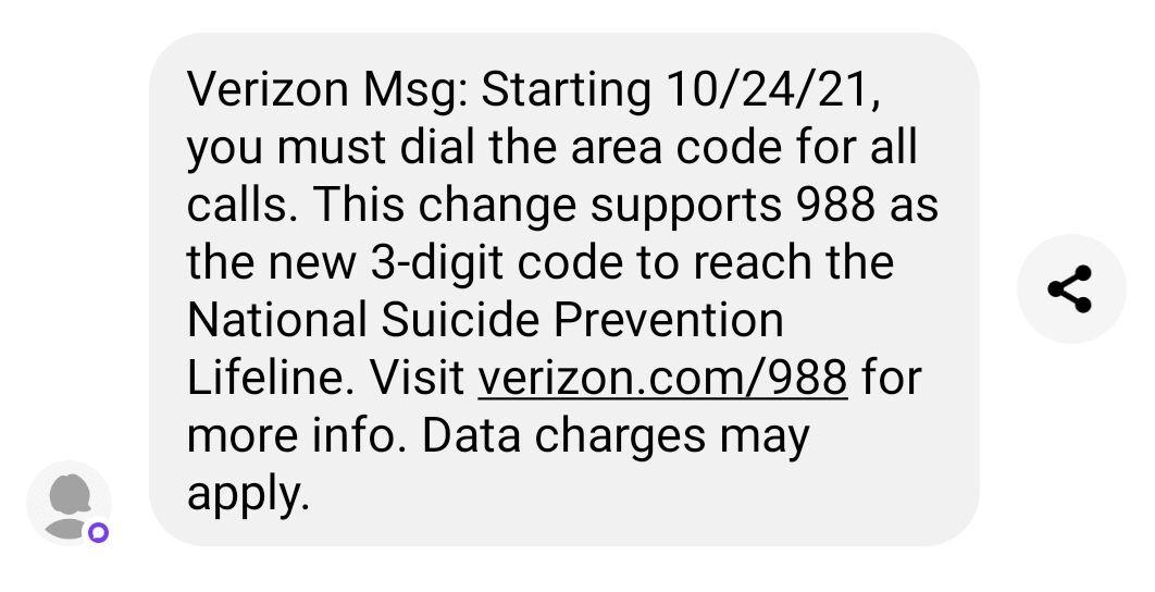 Must use area code beginning October 24, 2021