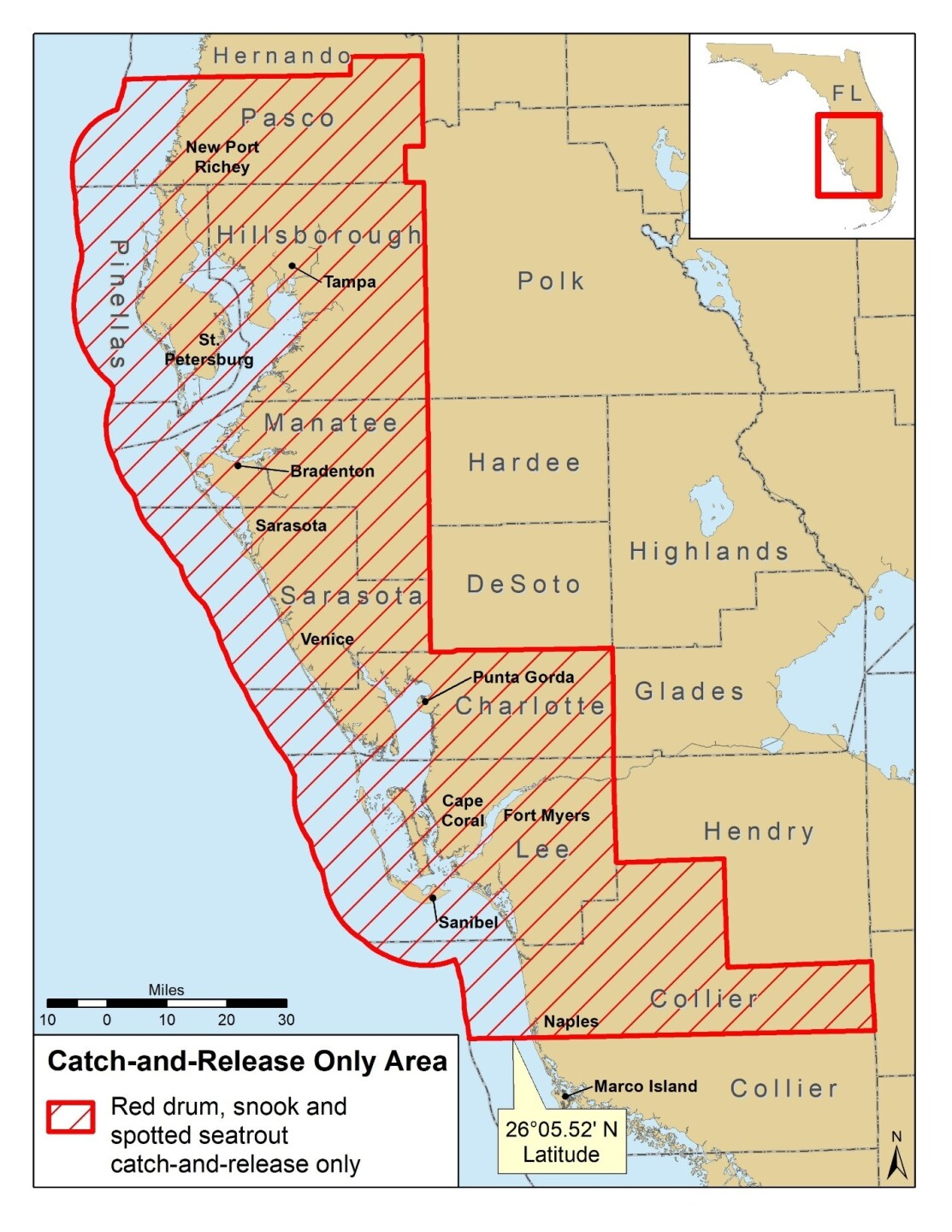 Snook, red drum and spotted seatrout catch-and-release map